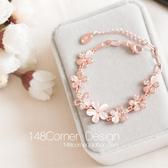 韓國進口清新氣質甜美貓眼石粉櫻花朵微鑲水鑽玫瑰金手鍊閨蜜禮物 降價兩天