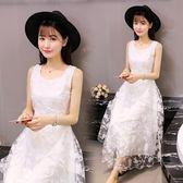 女裝法國小眾洋裝小清新長裙過膝很仙的女裙蕾絲洋裝  極有家