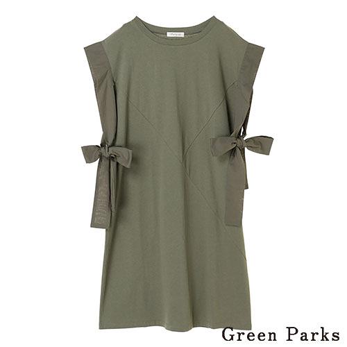 「Hot item」兩側綁帶長版上衣 - Green Parks
