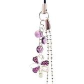 深紫色水鑽幸運草與Swaroski 圓片珠鍊吊飾
