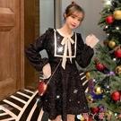 小禮服 年會禮服復古赫本風氣質減齡顯瘦圣誕紅色內搭小個子連身裙子秋冬 愛丫 免運