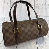 BRAND楓月 LOUIS VUITTON LV N51304 棋盤格 PAPILLON PM 圓筒包 手提包