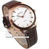 CURREN 簡約指針 都會型男/男錶/中性錶 皮革錶帶 玫瑰金電鍍x白x咖啡 CU8119玫咖