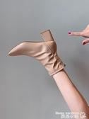 馬丁靴 馬丁靴女英倫風2021新款春秋季單靴方頭粗跟網紅瘦瘦高跟鞋短靴子 交換禮物 曼慕