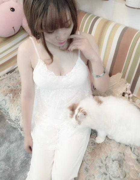 新品春夏三件套女睡衣套裝純棉裡襯帶胸墊蕾絲罩衫日系性感睡衣 -11190035
