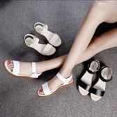 涼鞋 平底涼鞋防滑孕婦簡約百搭平跟休閒女鞋 巴黎春天