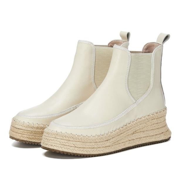 真皮女鞋 2019新款時尚頭層牛皮鬆緊口麻編厚底短靴~2色