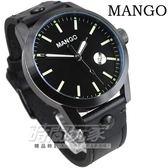 MANGO HOMME 簡約線條紳士 皮帶男錶 黑色 日期顯示視窗 大錶面 大錶盤 大錶 MG950006-88