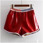 皮褲 夏冬新款高腰PU白邊拼接皮褲短褲女『快速出貨』