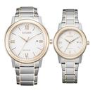 CITIZEN Eco-Drive 羅馬假期時尚對錶-玫瑰金X白