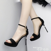 高跟鞋超高跟涼鞋女2018新款12CM恨天高單鞋性感夜場女韓版細跟一字扣鞋 2020新品