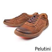 【Pelutini】真皮透氣綁帶膠底休閒鞋 咖啡(8364-DBR)