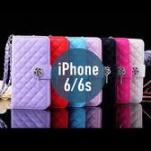 iPhone 6 / 6S 菱線格子玫瑰花吊墜皮套 帶手繩 插卡 支架 側翻皮套 手機套 手機殼 保護套