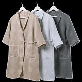 浴袍金號純棉浴衣浴袍 全棉毛巾料情侶款晨袍睡袍 系帶式布藝包邊LX  伊蘿
