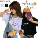 EASON SHOP(GQ0860)韓版繽紛泰通星球塗鴉印花落肩寬鬆寬版圓領短袖素色棉T恤女上衣服外搭大碼閨蜜裝