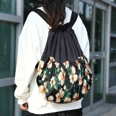 復古田園印花束口袋抽帶雙肩包女士簡易輕便旅行休閒背包  極有家