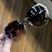 網紅s街拍防紫外線太陽鏡女鑲鉆韓范圓臉防曬個性眼鏡墨鏡 【快速出貨】