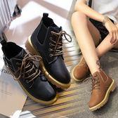 馬丁靴女英倫風秋季繫帶新款學生平底chic韓版帆布百搭短靴子     韓小姐的衣櫥