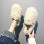 毛毛鞋 豆豆鞋女冬外穿2019秋冬平底羊羔毛女鞋一腳蹬豆豆鞋加絨女鞋【免運】