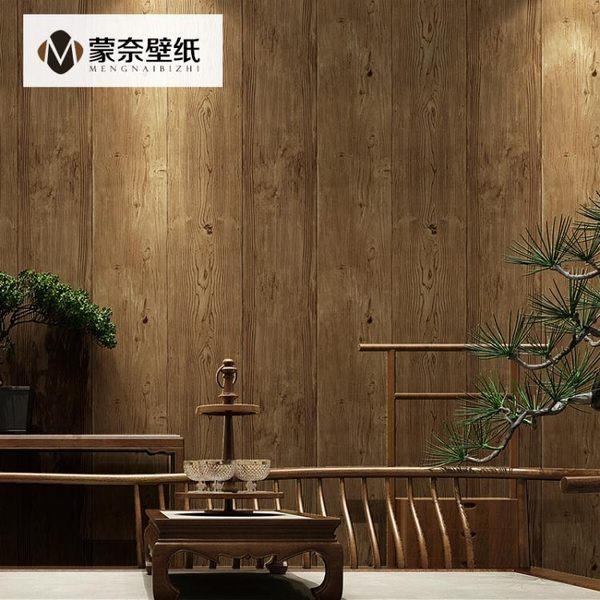 復古3d立體新中式仿木紋牆紙奶茶酒店餐廳背景牆壁紙BLNZ 免運快速出貨