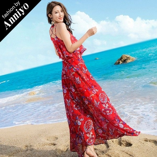 Anniyo安妞‧波西米亞細肩帶雙肩帶荷葉邊高腰顯瘦印花雪紡海邊度假長裙沙灘裙長洋裝 紅底碎花