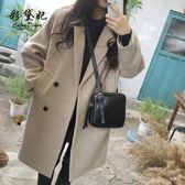 全館83折 彩黛妃2018秋冬新款韓版女裝毛呢外套修身顯瘦大碼中長款呢子大衣
