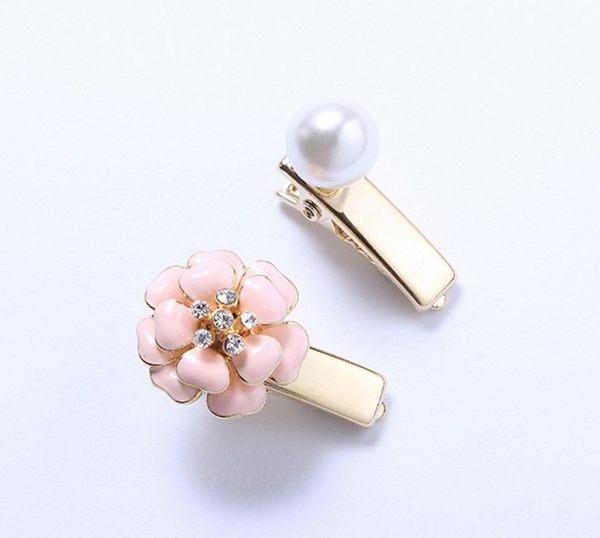 正韓珍珠花朵組合壓夾髮飾~夏綠蒂didi-shop