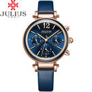 JULIUS 聚利時 LADY FIRST三眼設計皮錶帶腕錶-深邃藍/34mm 【JA-958E】