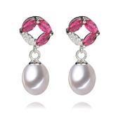 珍珠耳環 925純銀-8-9mm水滴型鑲粉色鋯石生日聖誕節交換禮物女飾品73lw20[時尚巴黎]