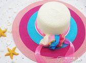 沙灘帽超值推薦夏草帽女海邊度假遮陽彩虹多色三朵花飄帶太陽帽  提拉米蘇
