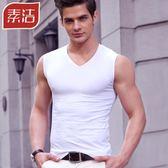 男士背心男夏季純棉青年透氣緊身修身型無袖T恤健身運動寬肩坎肩  巴黎街頭