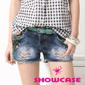 【SHOWCASE】個性油漆潑色刷破牛仔短褲(藍)