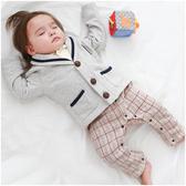 長袖連身衣 假三件 學院風 紳士 造型服 棉絨 男寶寶 爬服 哈衣 小紳士 小花童 Augelute Baby 50788