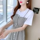 VK精品服飾 韓系不規則收腰下擺格紋拼接撞色優雅短袖洋裝