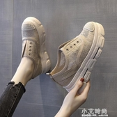 百搭厚底鬆糕鞋懶人一腳蹬女鞋2020夏季新款蕾絲透氣內增高漁夫鞋【小艾新品】