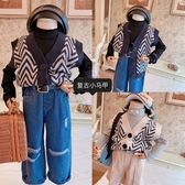 兒童針織背心 快時尚童衣韓版男女童毛線百搭針織馬甲 復古背心兒童洋氣針織衫 小宅女