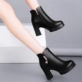 2019秋冬新款圓頭短靴皮質英倫女靴百搭高跟粗跟顯瘦馬丁靴 XN7322【極致男人】