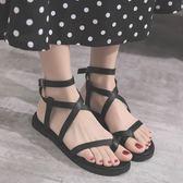 2018夏季新款涼鞋女韓版軟妹平底學生休閑羅馬鞋百搭一字扣帶女鞋