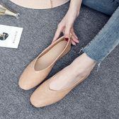新款韓版方頭復古奶奶鞋女平底單鞋大碼