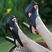 走秀高跟鞋一字扣粗跟涼鞋女新款真皮旗袍走秀鞋子高跟厚底防水台女鞋 快速出貨