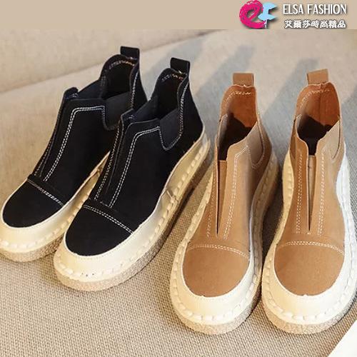 踝靴 舒適軟底英倫風格百搭復古美靴 艾爾莎【TSB8678】