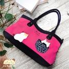 側背包~啵啵貓日系貓咪包 啵啵貓簡約小口袋側背包/肩背包/手提包/拼布包包