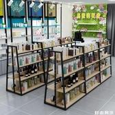 中島櫃落地展示台雙面超市貨架展示架多層零食中島架化妝品展示櫃CY 自由角落