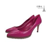 【巴黎站二手名牌專賣店】*現貨*GUCCI 古馳 真品*桃紅色皮革高跟鞋 (36.5號)