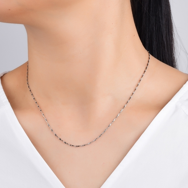 925純銀項鍊 1.2mm極細菱形元寶鏈 純鏈子-銀 防抗過敏 不退色