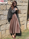 金絲絨百摺半身長裙女秋冬新款中長款高腰黑色顯瘦摺皺絲絨 韓國時尚週