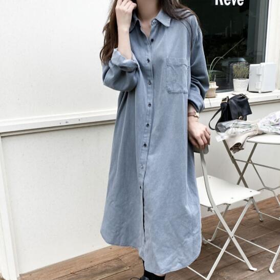 韓系 牛仔 長袖 襯衫 洋裝 連身裙 牛仔藍 依二衣