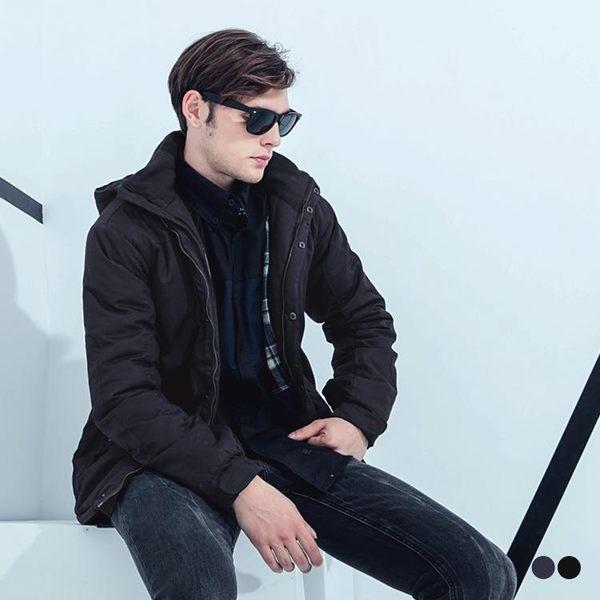 OB嚴選《KL0154-》極致暖感內鋪絨連帽拼色大衣外套.2色--適 S~XL