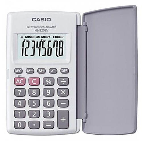 【CASIO】 8位數輕薄掀蓋式硬殼商務計算機HL-820LV-WE-白色(國家考試專用機種)