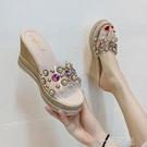 厚底楔形涼拖鞋女外穿時尚百搭新款夏季鬆糕厚底氣質仙女裙配的鞋  一米陽光